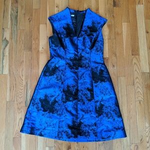 Maggy London Blue Jacquard Fit-and-Flare Dress